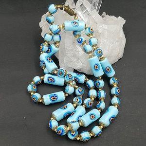 Vintage Itallian Millefiori Blue Bead Necklace